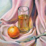 Mandarine und Glas, 24x32, Pastell