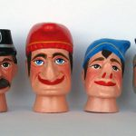 Kasperpuppen aus Holz, circa 1950-60. Nach.