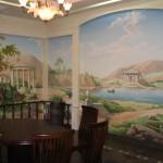Wandmalerei nach Motiven der Gemälde von älteren Meistern im Restaurant, Kiew
