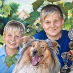 Brüder mit ihrem Hund, 50x65, Pastell