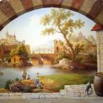 Wandmalerei nach Motiven der Gemälde von älteren Meistern im Weinkeller, Gesamtfläche 12 qm, Privatvilla, Kiew