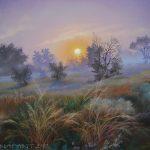 Sonnenuntergang. Gräser., 40x50, Pastell